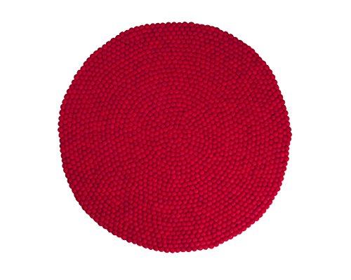 Sukhi Jass: Redonda: 90cm a 300cm,Ronda Roja nepalíes Bolas Alfombras Textura Suave Lana a Mano (300cm / 9' 10'')