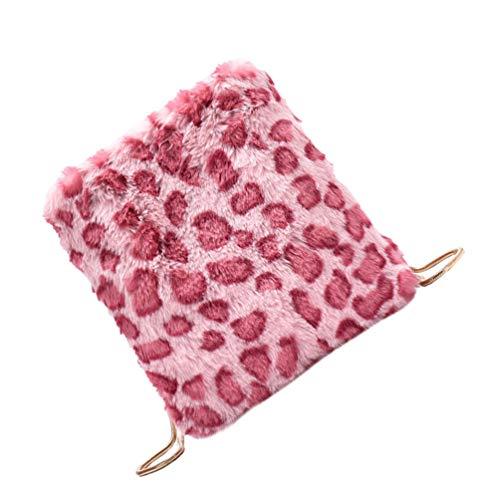 PRETYZOOM Plush Leopard Shoulder Bag Phone Cross Body Bag Winter Messenger Bolso para Mujeres Niñas Rosa