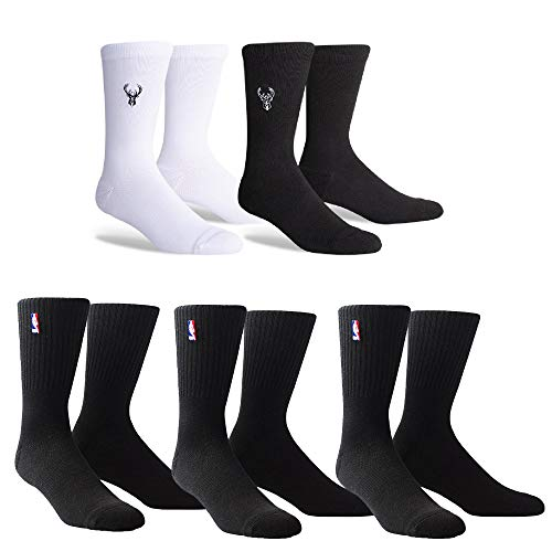 PKWY Unisex 5-Pack Logoman and Enough is Enough Basketball Team Crew Length Socks (Large(Men