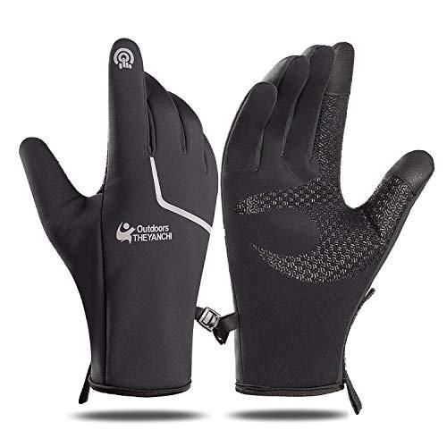 Guantes de invierno para correr Guantes de ciclismo - Pantalla táctil Antideslizante, guantes térmicos ligeros Hombres Mujeres Para caminar Montar Conducir Bicicleta