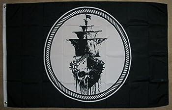 3 x5  Ghost Pirate Ship Flag Black Sea Mutiny Jolly Roger Skull Sword Banner 3X5
