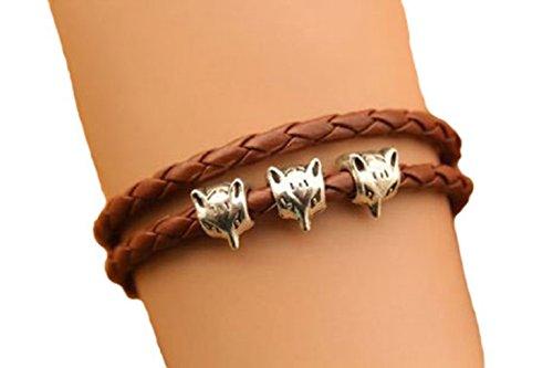 Fox Bracelet,Cute Fox Head Charm Bracelet,Brown Leather Rope Bracelet,Birthday Gift