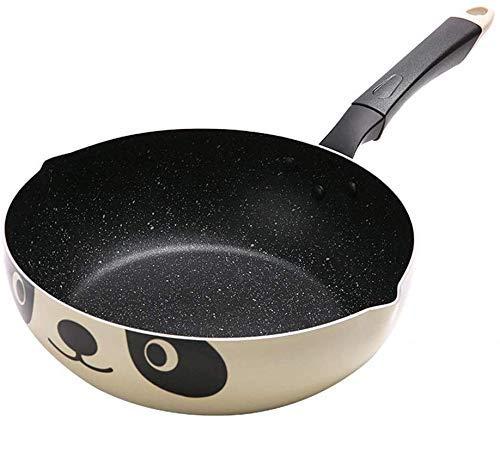 lqgpsx Rühren Braten Wok Pfanne Antihaft Aluminiumlegierung Wok Topf Maifanstone Große Kapazität Pfanne Bratpfanne Panda Muster Kochgeschirr, 26 cm (10,23 Zoll) Bratpfannen