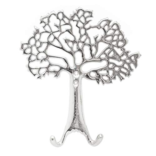 Carousel Home Gifts Atemberaubender Aluminium-Wandhaken mit Baum des Lebens | Wandgarderobe | Dekorative silberfarbene Metall-Türhaken