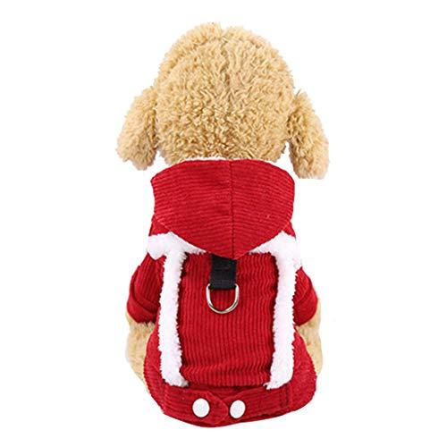 BBring Cord Hundeweste für Katzen Hunde, Kapuzen Hundemantel mit D Ring Fleece 4 Beine Komfortable Haustier Winterpullover Warm Hundekleidung für Kleine Hunde Hündchen Kätzchen (L, Rot)