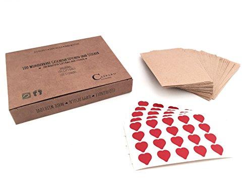 Plantvibes ® 100 magnifici sacchetti di carta e 100 adesivi, Mini sacchetti regalo vintage e adesivi a forma di cuore, Imballagio ecosostenibile, Bustine per fazzolettini per matrimoni (6x10cm, Kraft)