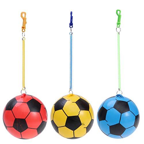 Toddmomy 3Pcs Deportes Pelotas Hinchables Fútbol en Cuerda Ejercicio Actividad Deporte Juguete Fiesta Favor (Color Aleatorio)