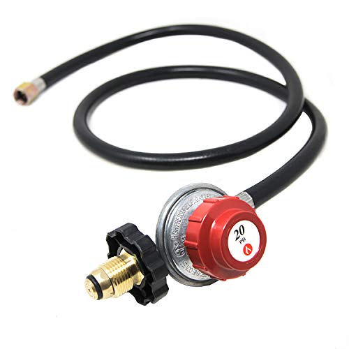 GasOne Propane Regulator and Hose 4 ft for LP/LPG Most LP/LPG Gas Grill, Heater and Fire Pit Table, Fit Type POL, 3/8