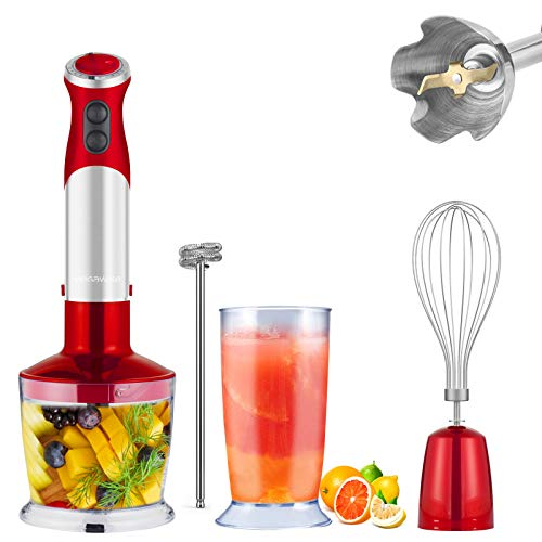 MegaWise 5-in-1 Immersion Hand Blender, Powerful 800 Watt 12-Speed Corded Blender with Sturdy Titanium Plated Stainless Steel Blades, Including 500ml Chopper, 600ml Beaker, Whisk and Milk Frother