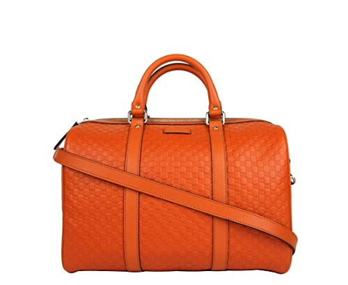Find Cheap Gucci Women's Orange Guccissima Leather Medium Boston Bag 449646 7527