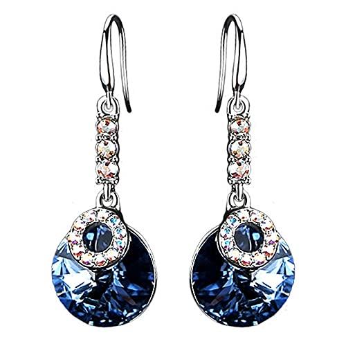 AZPINGPAN Pendientes Largos con Colgante de Cristal Azul, Americana Retro 925 Ganchos para la Oreja de Plata esterlina Pendientes de Dama de Diamantes de Color Brillante Joyas Exquisita