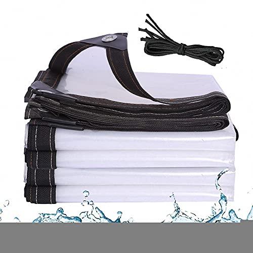 J&SKD Telone Impermeabile per Esterno Trasparente,Telo Copertura Occhiellato,Teloni PVC Trasparente Occhiellato Pesante Antipolvere, Antipioggia,Balcone in Plastica per Esterni Multiuso