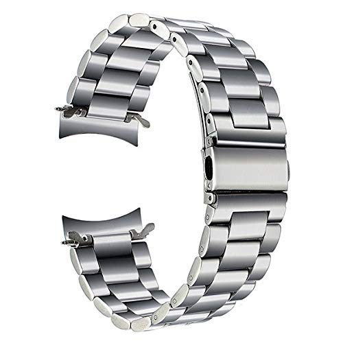 REDCVBN Uhrenarmband, 22mm Edelstahl Uhrenarmband Schnellverschluss für Gear S3 Classic Frontier Wrist Belt Armband Schwarz Silber Armband (Bandfarbe: Schwarz mit Adapter)