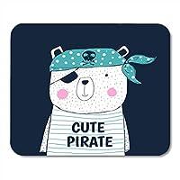 マウスパッド海軍少年かわいい海賊グラフィックス動物赤ちゃん子供キャプテンマウスパッド用ノートブック、デスクトップコンピュータマウスマット、オフィス用品