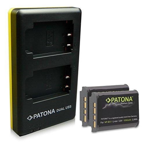 PATONA Cargador Doble + 2X Premium Batería NP-BX1 Compatible con Sony CyberShot DSC-RX100 DSC-H400 DSC-WX500