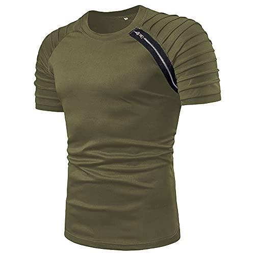 Camiseta Hombre Verano Cuello Redondo Color Sólido Shirt Hombre Cremallera Decorativa Transpirable Slim Fit Tops Hombre Moda Casual Estilo Deportivo Camisa Deportiva Hombre