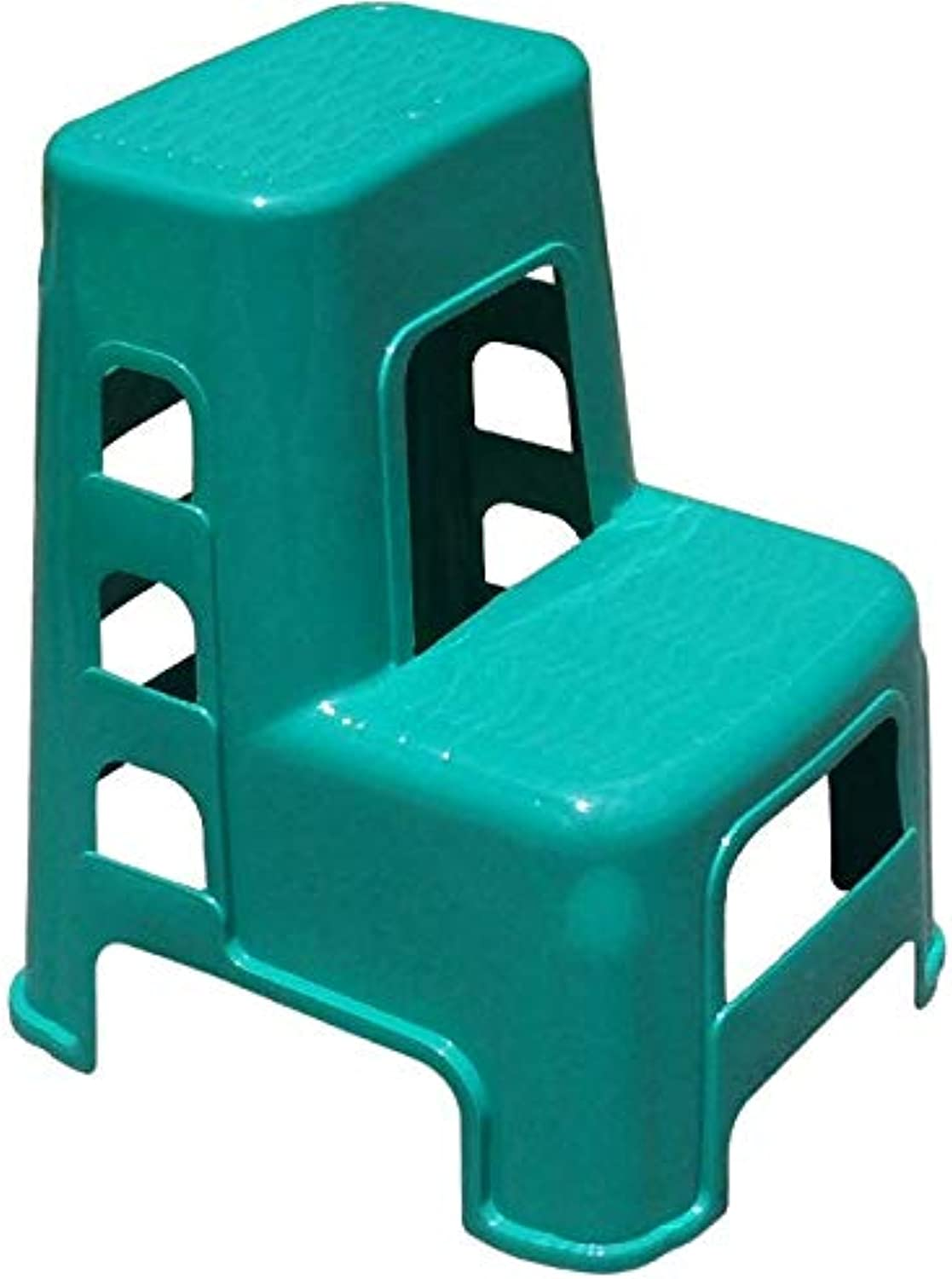 Step Stool, Plastic Two-Step High and Low Car Wash Stool, Home Kitchen Bedroom Stair Stool, Adult Portable Step Foot Mat,Green
