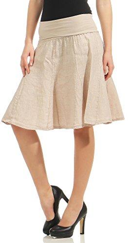 Malito Figura-amigable Verano Falda con cinturón Tramo Midi Mini 1580 Mujer Talla Única (Beige)