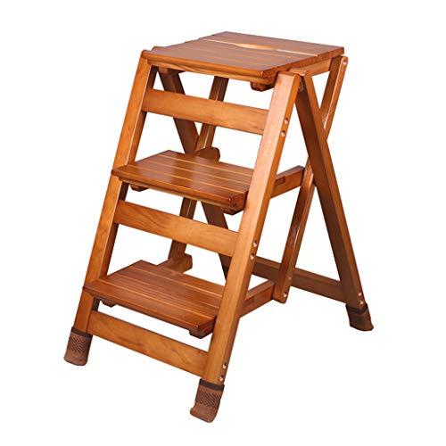 Klappstufen Treppenleiter Schwerlast-Tritthocker Klappbare 3-Stufen-Holzleiter Tragbarer Stuhl Haushalt Treppenleiter Trittleiter Verbreiterter Hocker, mit Rutschfester Matte, Höhe 65,5 cm Walnuss F
