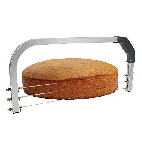Cortador de base de tartas con 3 hilos dentados, acero inoxidable, ajustable