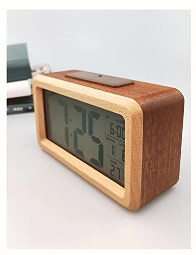 Lhl Reloj Despertador de Madera Maciza, Retro Pantalla Grande Cuadrada led páltero fotosensible 24 Horas de Escritorio Digital silencioso, en Dormitorio, Estudio (Color : Maroon)