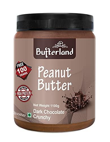 Butterland Dark Chocolate Peanut Butter | Crunchy | 1kg+100g free=1100g | 24% protein | Made With Roasted Peanuts And Dark Chocolate | Vegan | Vitamin E,B3,B6 | Gluten Free | Weight Gain | Weight Loss