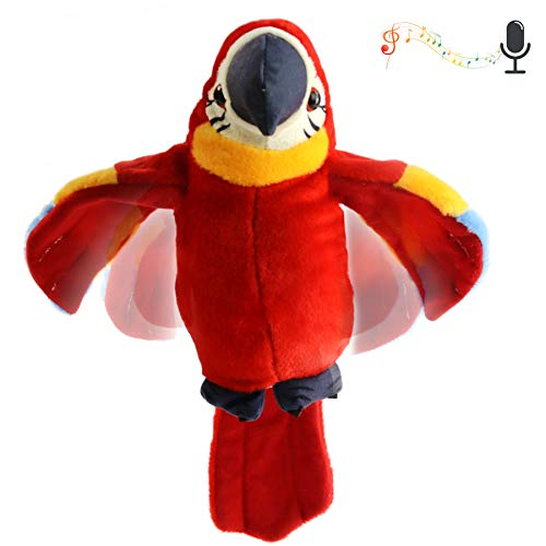 Houwsbaby Talking Parrot Plush Pal Repeat What You Say Stuffed Animal Electronic Record Interactive Animated Bird Shake Wings Creative Gift for Kids Boys Girls Holiday Birthday, 9'' (Red)