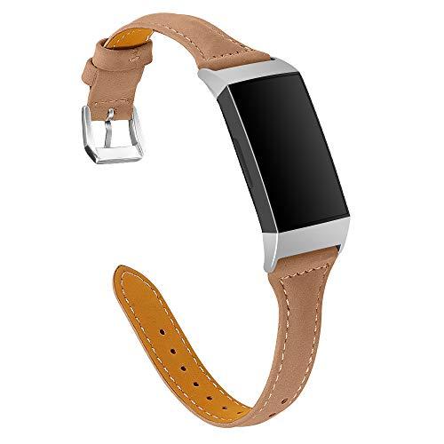 Jennyfly Bracelet fin en cuir véritable compatible avec Fitbit Charge 4/3/3 SE, bracelet de montre de sport léger avec boucle en métal réglable de 14 à 20,3 cm – Café