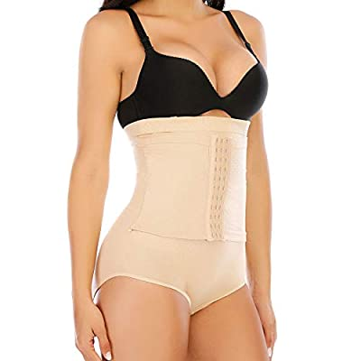 Tummy Control Shapewear Panties for Women High Waist Trainer Cincher Underwear Firm Body Shaper (Beige, Medium)