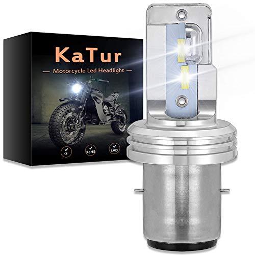 KATUR Motocicleta BA20D H6 Hi/Lo Beam LED Bombillas de Faros Superbrillantes mejorados Chips CSP Todo en uno Kit de conversión 1750 LM 18W 6500K (Blanco xenón)