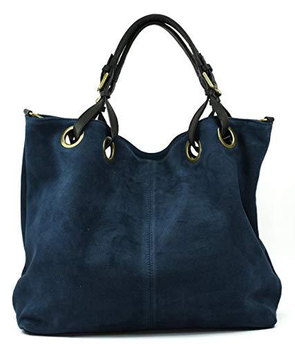 OH MY BAG Sac porté épaule Cuir porté épaule main bandoulière et de travers femmes en véritable cuir fabriqué en Italie - modèle OPERA Bleu foncé