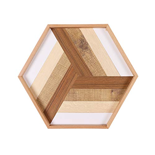 NYKK Serving Tray for Kitchen Fashion Simple Creative Geometric Hexagon Splicing Tray Tea Tray Household Wooden Tray Storage Storage Jewelry Tray Display Tray