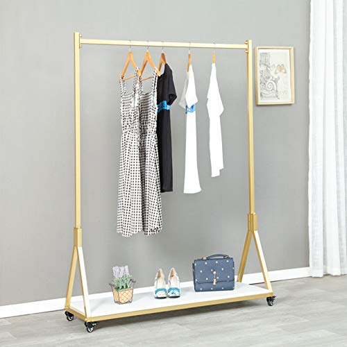 FURVOKIA Modern Simple Heavy Duty Metal Rolling Garment Rack with Wheel,Retail Display Clothing Rack with Wood,Iron Single Rod Floor-Standing Hangers Clothes Shelves (Gold Square Tube B, 47.2 L)