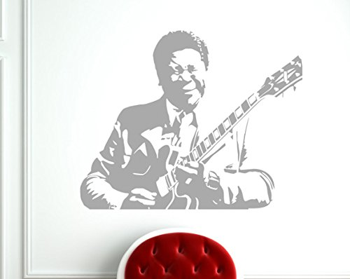 BB KING Delta Blues Sticker mural, doré, 58cmx47cm