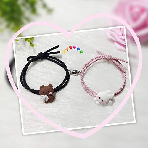 Youjin 2pcs Bear Bunny Couples Bracelets, Cute Woven Bracelet, Adjustable Romantic Handmade Rope for Women Men Boyfriend Girlfirend Gift
