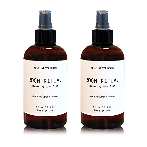 Muse Bath Apothecary Room Ritual - Aromatic and Relaxing Room Mist, 8 oz, Infused with Natural Essential Oils - Aloe + Eucalyptus + Lavender, 2 Pack