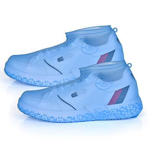 Ulikey Wodoodporne buty ochronne, silikonowe ochraniacze przeciwdeszczowe, wielokrotnego użytku, antypoślizgowe, na deszcz, śnieg, plażę, błoto (niebieskie, L)