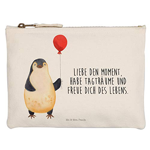 Mr. & Mrs. Panda Etui, Kosmetiktasche, M Schminktasche Pinguin Luftballon mit Spruch - Farbe Weiß