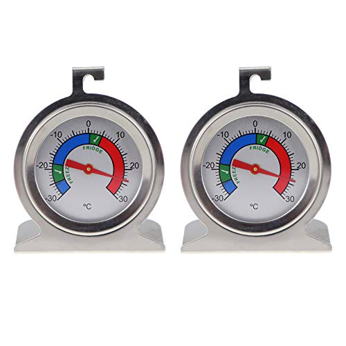 Fridge Freezer Thermometer Twin Pack For Monitoring Refrigerator Temperature Stainless Steel Freezer and Fridge Temperature Thermometer Pack