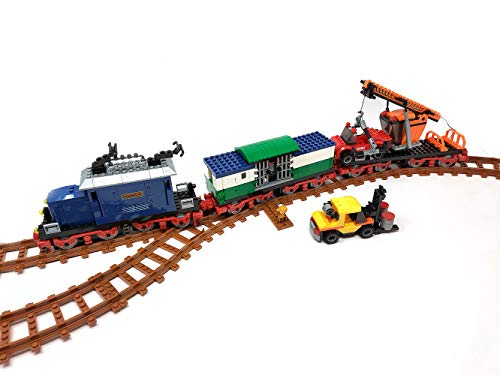 Brigamo Bausteine Zug Autozug mit Verladewagon und Schienen, Konstruktionsspielzeug