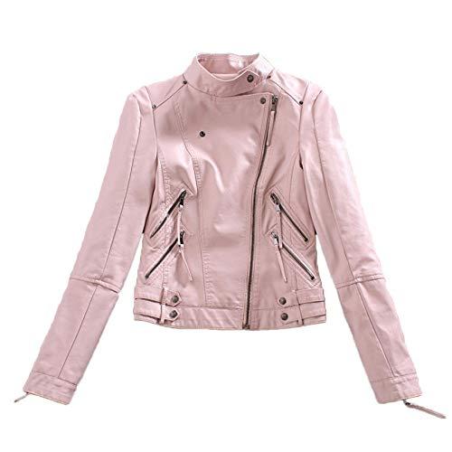 DANWJDP Chaqueta De Cuero para Mujer,Primavera Otoño Señoras Imitación Cuero Chaqueta Corta PU Suave Diseño Slim Rosa Jacket Womens Moda Punk Motociclista Motocicleta Ropa Streetwear