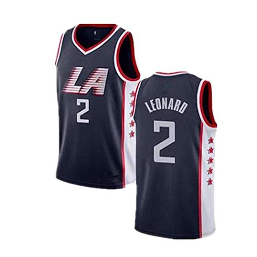 Camiseta NBA Clippers No.2 Jersey Verano Deportes Manga Corta Unisex Casual Negro Chaleco