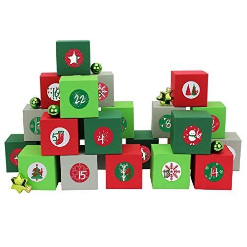 PaPIerDraCHeN 24 scatole per Il Calendario dell'Avvento - con Adesivi con Numeri - 24 scatole Colorate da riempire - Motivo Verde-Grigio