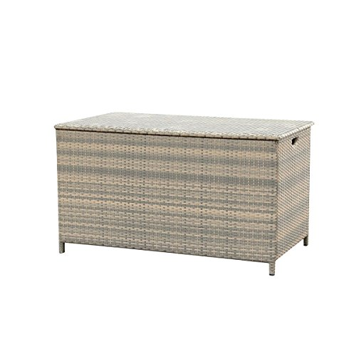 greemotion XXL Kissenbox Manila grau bicolor, Auflagenbox inklusive Schutzbespannung, Truhe aus witterungsbeständigem Polyrattan, Deckel einfach zu betätigen, Maße: ca.134 x 79 x 75 cm