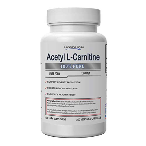 Superior Labs   Acetyl L-Carnitine 1000mg   200 caps   Maximum Absorption   Pure Vegetable Capsules   Zero Synthetic Additives   Superior Absorption