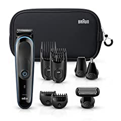 9 precision styling jobs in one device: stubble, short, medium and long beards, body grooming, ear and nose trimming 4 combs for 13 precision length settings from 0.5-21mm Lifetime lasting sharp blades for ultimate precision. The Braun multi grooming...