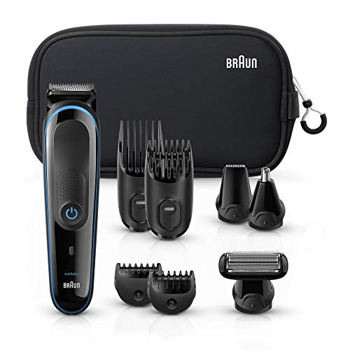 Braun All-in-one trimmer MGK3980, 9-in-1 Hair Clippers for Men, Beard Trimmer, Ear and Nose Trimmer, Body Groomer, Detail Trimmer, Cordless & Rechargeable, with Gillette ProGlide Razor, Black/Blue