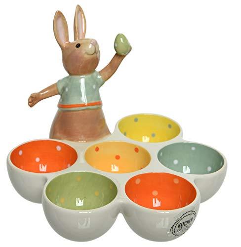 Dio - Portauovo di Pasqua Decorativo in Porcellana, con Statuetta a Forma di Coniglio, Colore: Crema