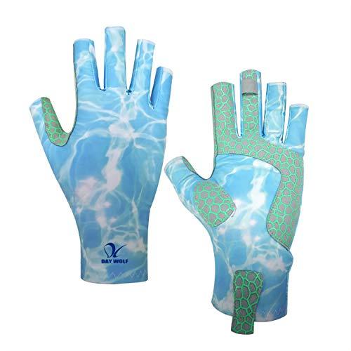 day wolf Guantes de Pesca Protección UV Transpirable sin Dedos UPF 50+ para Remo al Aire Libre Kayak Remo Senderismo Ciclismo Conducción Entrenamiento de Tiro para Hombres y Mujeres (Nube Azul, L)