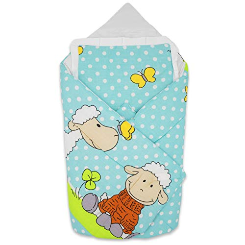 BlueberryShop manta de algodón para bebés con almohada, Saco de dormir para bebés recién nacidos, Baby Shower, 78 x 78 cm, Azul Crema